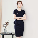 Dress Spring 2020 Dark blue black S M L XL XXL XXXL Middle-skirt singleton  Short sleeve commute Crew neck middle-waisted Solid color Socket One pace skirt routine Others 25-29 years old Type X Remote flower zipper More than 95% knitting polyester fiber Polyester 100%