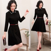 Dress Summer of 2019 Black dress black short sleeve S M L XL XXL XXXL Middle-skirt singleton  Long sleeves commute square neck middle-waisted Solid color zipper Big swing routine Others 25-29 years old Type A Remote flower Ol style Frenulum More than 95% knitting other New polyester fiber 100%