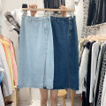 skirt Spring 2021 S 〈 90-100kg 〉, m 〈 100-110kg 〉, l 〈 110-120kg 〉, XL 〈 120-135kg 〉, 2XL 〈 135-150kg 〉, 3XL 〈 150-165kg 〉, 4XL 〈 165-175kg 〉, 5XL 〈 175-200kg 〉 Light blue, dark blue, black Mid length dress Versatile High waist A-line skirt Solid color Type A 18-24 years old