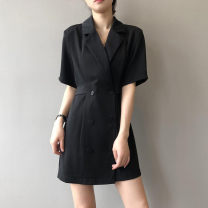 Dress Summer 2021 Black (1502) Khaki (1502) M L Short skirt singleton  Short sleeve commute tailored collar Loose waist Solid color double-breasted A-line skirt routine 18-24 years old Type A QV (clothing) Retro Button QV-14G2536AFA More than 95% polyester fiber Pure e-commerce (online only)