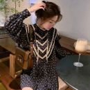 Dress Spring of 2018 black S,M,L Short skirt singleton  Short sleeve commute Crew neck High waist Decor Socket A-line skirt routine Others 18-24 years old Type H printing More than 95% other polyester fiber