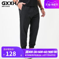 Casual pants GxxH Youth fashion 2XL 3XL 4XL 5XL 6XL routine trousers Other leisure easy Micro bomb Four seasons Large size tide 2018 middle-waisted Little feet Polyester fiber 80% viscose fiber (viscose fiber) 16% polyurethane elastic fiber (spandex) 4% Sports pants stripe Spring of 2018