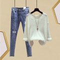 Fashion suit Spring 2020 S,M,L,XL White top, green top, yellow top, blue jeans, fashion matching suit