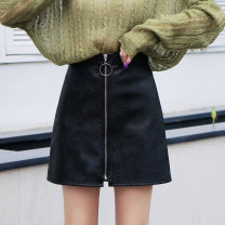 skirt Autumn 2020 S M L XL XXL Middle zipper - black middle zipper - Yellow Middle zipper - silver decorative line Short skirt commute High waist A-line skirt Solid color Type A 18-24 years old 1773 decorative line leather skirt More than 95% other Xi Xuan other Zipper stitching Korean version PU