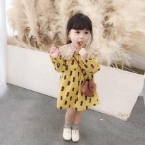 Dress Yellow, white female Other / other 90cm,100cm,110cm,120cm,130cm Cotton 90% other 10% spring and autumn princess Long sleeves Broken flowers cotton A-line skirt PDD yellow shirt skirt Class B 18 months, 2 years old, 3 years old, 4 years old, 5 years old, 6 years old, 7 years old Chinese Mainland