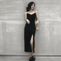 Women's large Summer 2020 black M [80jin-100jin], l [100jin-120jin], XL [120jin-140jin], 2XL [140jin-160jin], 3XL [160jin-180jin], 4XL [180jin-200jin] Dress singleton  commute Self cultivation thin Socket Sleeveless Solid color Korean version V-neck Medium length routine 25-29 years old longuette