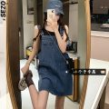 Dress Summer 2021 navy blue XS S M Short skirt singleton  Sleeveless commute Loose waist straps 18-24 years old Sezo Retro More than 95% Denim other Other 100% Pure e-commerce (online only)