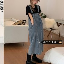 Dress Summer 2021 Black Denim S M L XS Mid length dress singleton  Solid color Socket straps 18-24 years old Type A Sezo More than 95% other Other 100% Pure e-commerce (online only)