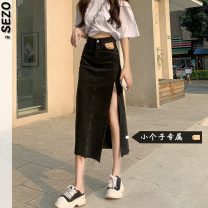 skirt Summer 2021 S M L XS Blue black grey Mid length dress Natural waist Denim skirt Solid color 18-24 years old More than 95% Sezo other Other 100% Pure e-commerce (online only)