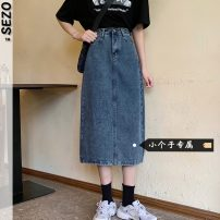 skirt Summer 2021 S M L XS blue Mid length dress commute High waist Denim skirt Type A 18-24 years old More than 95% Denim Sezo other Korean version Other 100% Pure e-commerce (online only)