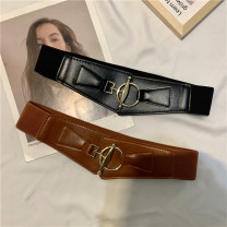 Belt / belt / chain Pu (artificial leather) Black, camel, dark brown, white female Waistband Versatile Single loop youth Automatic buckle Glossy surface soft surface alloy alone Other / other
