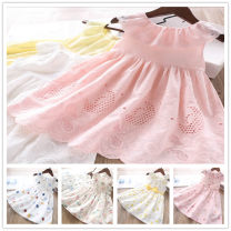 Dress female Other / other 2 or 90, 100, 110, 116, 120, 130, 9 or 140 Cotton 95% other 5% summer lady Skirt / vest lattice Cotton blended fabric Lotus leaf edge Class B 12 months, 18 months, 2 years old, 3 years old, 4 years old, 5 years old, 6 years old