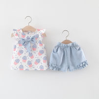 suit Other / other Light blue, lotus root 66cm reference height, 73cm reference height, 80cm reference height, 85CM reference height, 90cm reference height, 95cm reference height, 100cm reference height, 105cm reference height female summer fresh Sleeveless + pants 2 pieces Thin money No model cotton
