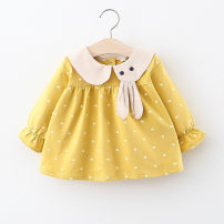 Dress Pink, yellow, green, lotus root female Other / other 66cm,73cm,80cm,85cm,90cm,95cm,100cm,105cm Cotton 95% polyester 5% spring and autumn princess Long sleeves cotton Splicing style Q2001050 12 months, 6 months, 9 months, 18 months, 2 years, 3 years, 4 years