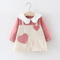 Dress Pink, yellow female Other / other 66cm,73cm,80cm,85cm,90cm,95cm,100cm Cotton 95% polyurethane elastic fiber (spandex) 5% spring and autumn princess Long sleeves cotton Splicing style Q192131 12 months, 6 months, 9 months, 18 months, 2 years, 3 years, 4 years