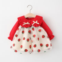 Dress Red, pink female Other / other 66cm,73cm,80cm,85cm,90cm,95cm,100cm Cotton 95% polyester 5% spring and autumn princess Long sleeves Fruits and Vegetables cotton Splicing style 12 months, 6 months, 9 months, 18 months, 2 years, 3 years, 4 years