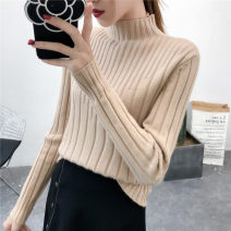 sweater Autumn of 2018 S M L XL Yellow black light green light camel beibai Long sleeves Socket singleton  Regular other 95% and above Half high collar thickening commute routine Solid color Straight cylinder Regular wool Keep warm and warm 18-24 years old Hexiang YX18035 Other 100%