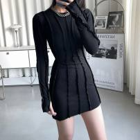 Dress Spring 2021 black S, M Short skirt singleton  Long sleeves street Crew neck High waist Solid color Socket A-line skirt routine Others 18-24 years old Type A DQSTORE DQ-0911 91% (inclusive) - 95% (inclusive) other cotton Europe and America