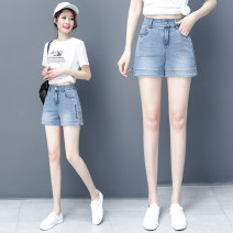 Jeans Summer 2021 Main graph color 26/S,27/M,28/L,29/XL,30/2XL,31/3XL shorts High waist Straight pants routine Wash, embroidery, pattern Thin denim light colour Pinge Dixin 96% and above