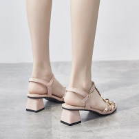 Sandals 35,36,37,38,39 Blue, pink Superfine fiber Neozita / neusita Barefoot Thick heel Middle heel (3-5cm) Summer 2020 Flat buckle Britain Solid color Adhesive shoes Youth (18-40 years old) rubber daily Front and rear trip strap Rivet, thick heel Low Gang Hollow Two layer pigskin Microfiber skin