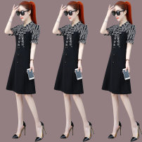 Women's large Summer 2021 Apricot black M L XL 2XL Dress Fake two pieces commute Self cultivation thin Socket Short sleeve Decor Korean version stand collar pagoda sleeve 41008AZ1231 Wanshe 30-34 years old Pure e-commerce (online only) other