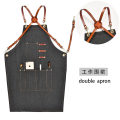 apron Denim glass black + Leather round cross strap, denim glass black + Leather Diamond Cross strap, denim glass black + Leather neck strap, denim glass black + canvas strap, denim glass black + PU leather shoulder strap Sleeveless apron antifouling Korean version other Cooking / baking / barbecue