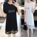Dress Summer of 2019 White black longuette singleton  Short sleeve commute Crew neck Solid color other 18-24 years old Type A Janilou Korean version Splicing More than 95% other other Other 100%