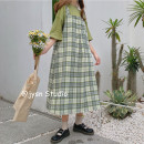 Dress Summer 2021 Average size Mid length dress Two piece set Sleeveless Sweet Loose waist lattice Socket A-line skirt 18-24 years old Type A Other / other Button More than 95% other cotton college