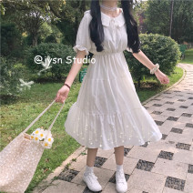 Dress Summer 2021 White, violet Average size Mid length dress singleton  Short sleeve Sweet Doll Collar High waist Solid color Socket A-line skirt puff sleeve 18-24 years old Type A 51% (inclusive) - 70% (inclusive) other cotton solar system