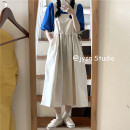 Dress Summer 2021 Blue t , Apricot back skirt Average size Mid length dress Two piece set Sleeveless Sweet High waist Solid color Socket A-line skirt straps 18-24 years old Type A Frenulum 31% (inclusive) - 50% (inclusive) other cotton solar system