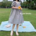 Dress Summer 2021 Blue, green Average size Middle-skirt singleton  Short sleeve Sweet Doll Collar High waist lattice Socket A-line skirt puff sleeve Others 25-29 years old Type A 81% (inclusive) - 90% (inclusive) other other solar system
