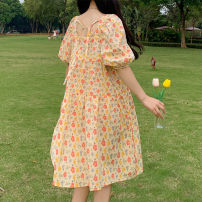 Dress Summer 2021 Picture color Average size Middle-skirt singleton  Short sleeve Sweet square neck Loose waist Broken flowers Socket A-line skirt puff sleeve 18-24 years old Type A Bandage 51% (inclusive) - 70% (inclusive) other other Mori