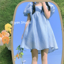 Dress Summer 2021 blue Average size Mid length dress singleton  Short sleeve Sweet square neck High waist Solid color Socket Princess Dress puff sleeve 18-24 years old Type A A625 other solar system