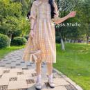 Dress Summer 2021 Purple Plaid Dress , Yellow Check Dress Average size Mid length dress singleton  Short sleeve Sweet Doll Collar High waist lattice Socket A-line skirt puff sleeve 18-24 years old Type A other solar system