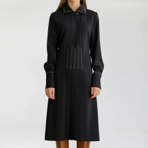 Women's large Spring 2021 black L XL 2XL 3XL 4XL Dress singleton  commute easy moderate Socket Long sleeves Solid color Simplicity square neck fold routine HL3Q11529 Han Luojia 35-39 years old Three dimensional decoration Medium length Polyester 100% Pure e-commerce (online only) Pleated skirt