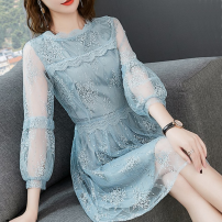 Dress Spring 2021 blue S,M,L,XL,2XL Mid length dress singleton  Nine point sleeve commute Crew neck High waist Solid color zipper A-line skirt bishop sleeve 30-34 years old Type A lady Stitching, zipper, lace 30% and below polyester fiber
