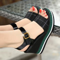 Sandals 34 35 36 37 38 39 White patent leather black patent leather dark green lattice black lattice Guifuni top layer leather Barefoot Slope heel Super high heel (over 8cm) Summer of 2018 Velcro Europe and America Color matching Adhesive shoes Youth (18-40 years old) rubber office Rear trip strap
