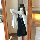 Dress Summer 2021 Warm purple dress, grey dress, black dress, white cardigan, soft purple cardigan Average size Mid length dress Two piece set Sleeveless commute One word collar High waist Solid color Socket A-line skirt routine camisole 18-24 years old Type A Korean version D123