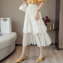 skirt Summer 2021 S,M,L,XL Apricot, black Mid length dress commute High waist Cake skirt Solid color Type A 18-24 years old GT 51% (inclusive) - 70% (inclusive) Lace Korean version