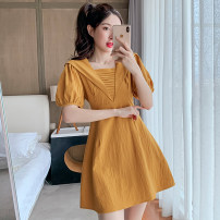 Dress Summer 2021 White, yellow S,M,L,XL,2XL Short skirt singleton  Short sleeve commute square neck High waist Solid color Socket A-line skirt puff sleeve 18-24 years old Type A Korean version JZT 51% (inclusive) - 70% (inclusive)