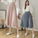 skirt Spring 2021 S,M,L,XL Black, pink, apricot, blue Mid length dress commute High waist A-line skirt Solid color Type A 18-24 years old GT 51% (inclusive) - 70% (inclusive) Denim cotton Korean version