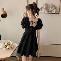 Dress Summer 2021 Purple, black S,M,L,XL Mid length dress singleton  Short sleeve commute square neck High waist Solid color Socket A-line skirt puff sleeve Others 18-24 years old Type A Korean version Open back, lace up GT 51% (inclusive) - 70% (inclusive) Chiffon