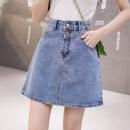 skirt Summer 2021 S,M,L,XL Blue, black Short skirt commute High waist A-line skirt Solid color Type A 18-24 years old D123 51% (inclusive) - 70% (inclusive) Denim cotton Korean version