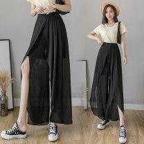 Casual pants Pink, blue, black S,M,L,XL,2XL Summer 2021 Ninth pants Wide leg pants High waist commute Thin money 18-24 years old 51% (inclusive) - 70% (inclusive) JZT Korean version fold