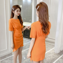 Dress Summer 2021 Blue, orange S,M,L,XL Mid length dress singleton  Short sleeve commute Crew neck High waist Socket A-line skirt routine Others 18-24 years old Type A Korean version NBA knitting cotton