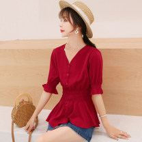 shirt White, red S,M,L,XL,2XL Summer 2021 cotton 51% (inclusive) - 70% (inclusive) Short sleeve commute Regular V-neck Socket routine Solid color 18-24 years old Self cultivation Korean version D123