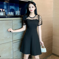 Dress Summer 2021 black S,M,L,XL Middle-skirt Fake two pieces Long sleeves commute Crew neck High waist Dot Socket A-line skirt routine Others 18-24 years old Type A Korean version GT 51% (inclusive) - 70% (inclusive) Chiffon polyester fiber