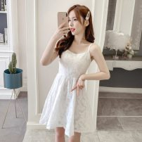 Dress Summer 2021 white S,M,L,XL Short skirt singleton  Sleeveless commute square neck High waist Solid color Socket A-line skirt other camisole 18-24 years old Type A Korean version GT 51% (inclusive) - 70% (inclusive) Chiffon