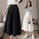 skirt Summer 2021 S,M,L,XL,2XL Dark blue, off white, black Mid length dress commute High waist A-line skirt Solid color Type A 18-24 years old GT 51% (inclusive) - 70% (inclusive) Korean version
