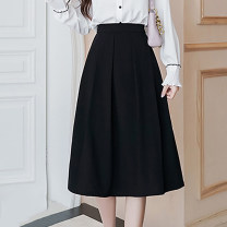 skirt Summer 2021 S,M,L,XL,2XL black longuette commute High waist A-line skirt Solid color Type A 18-24 years old D123 51% (inclusive) - 70% (inclusive) other polyester fiber Korean version